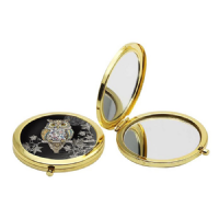 Beautiful Foil Owl Handbag Compact Mirror